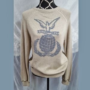 Vntg 1969 USA print knit sweater